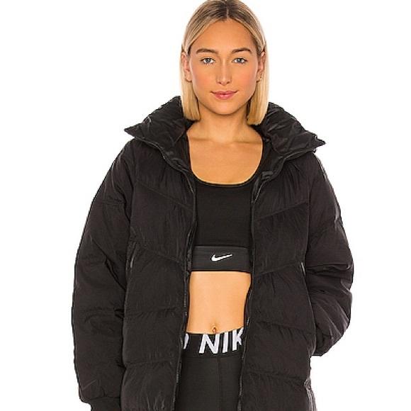 NIKE! Check Water Repellent Long Puffer Coat